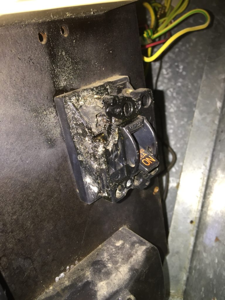 Main Switch burnt out and melted
